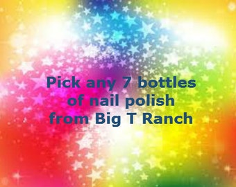 Pick ANY 7 FULL SIZE Bottles Nail Polish  - Free U.S. Shipping - Custom Blended Glitter Nail Polish Lacquer - 0.5 oz Full Sized Bottle