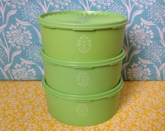Stackable Tupperware canisters containers- set of three, apple green, with lids