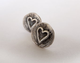 Sculpted silver heart stud earrings, Handmade sterling silver heart studs, hand carved heart earrings, Dark silver jewelry