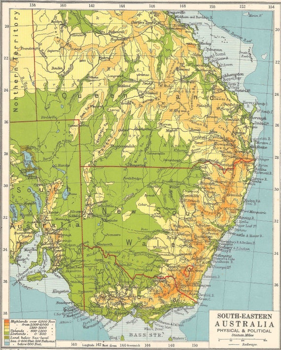 South Eastern Australia Sydney Brisbane maps 1920s Vintage map