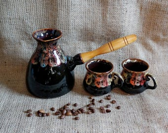 Birthday gift for husband, Coffee set Rainbow Turkish coffee pot, Wife gift on wedding day Gift for mom, Best aunt gifts Mother in law gift