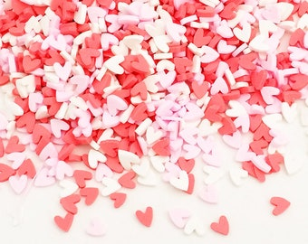 20g Candy Sprinkles - Heart / Pink, Red & White Kawaii Cute Fake Food Polymer Clay Cell Phone Deco