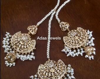 Hyderabadi Jewelry set pearls indian jhumar tikka passa Pakistani designer jewellery Adaa Jewels Nizam semi precious gold plated