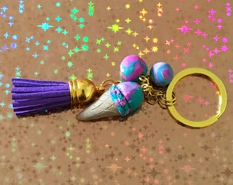 Ice Cream Cone and Orb Keychain