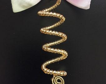 Gold Coil Loc Jewelry Gold Spiral & Tiny Gold Glass Beads Dreadlock Cuffs Hair Jewelry Braids Dread Locs Jewelry Sisterlocks Beads