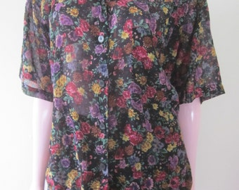 "1980s Sheer Cotton Floral Print 2-Piece Dress by ""Island Fever, Bermuda,"" Size M"