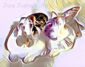SALE Digital Art Download Bunny Rabbits - Modern Abstract, Bunny Rabbits