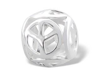 Peace 925 Sterling Silver Charm Bracelet Bead (Fits Pandora and European Bracelets)