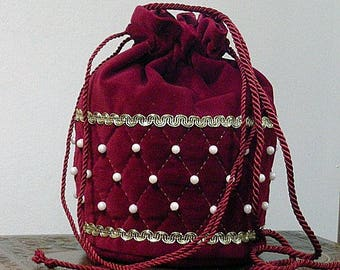 Burgundy Velveteen Quilted Shoulder Purse with Pearls - Renaissance
