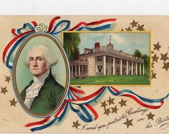 vintage postcard, George Washington,  Washington's Birthday  antique postcard, red, white & blue banner, Mt. Vernon, unused