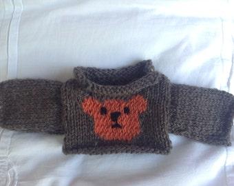 Knitted Bear or Doll Jumper - Teddy bear design - Doll / Bear accessory