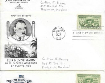 Three 1949 Puerto Rico First Day Covers