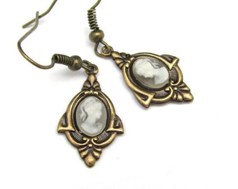 Art Deco Earrings Cameo Earrings Antiqued Gold Tone Earrings Wedding Jewelry Bride Earrings Bridal Jewelry Bridal Earrings Hawaii Beads