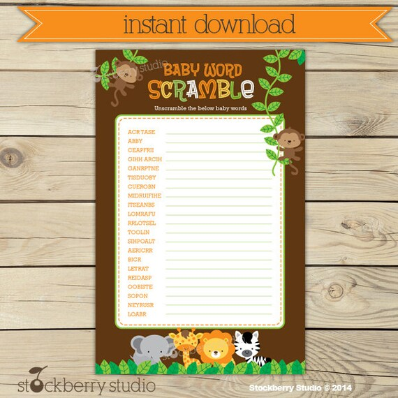 Safari Baby Shower Word Scramble Game Printable Instant