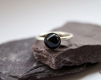 Black Onyx Sterling Silver Ring ~ statement ring, stacking ring, gemstone, unique, stackable, solitaire ring
