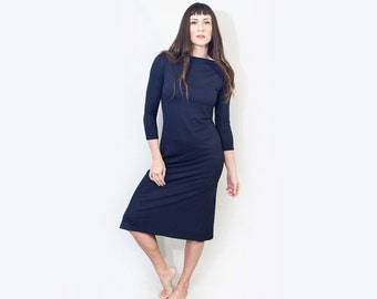 Boatneck Dress | Women's Midi Knee Length | Tall Length Relaxed Fit Petite Dresses | Made in our loft | L415 & Co Clothing (# 415-951)