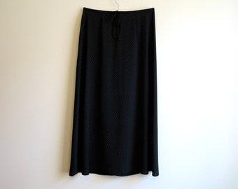 Black Womens Skirt Black Polka Dot Skirt Maxi Skirt Long Skirt A Line Skirt Size M