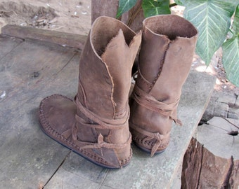 distress leather moccasin boots