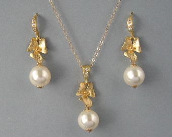 Genuine Swarovski,Yellow Gold Plated Silver, Gold Filled, Cream Pearl Set, Orchid Set,Ivory Swarovski,Bridal Jewelry, Bridesmaid Gift- DK442