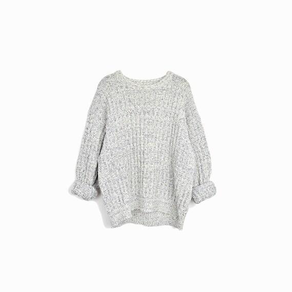 Vintage Cotton Camp Sweater in Blue & White / 90s Boyfriend Sweater - men's medium