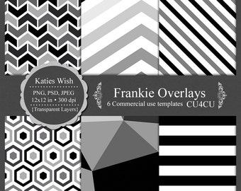 Geometric Overlay kit Frankie digital template kit commercial use PNG, PSD layers instant download file