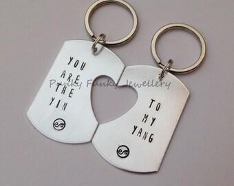 Yin Yang keyring set - You are the Yin To my Yang - matching keychain - ying yang - anniversary gift - keyring pair - feng shui couple gift