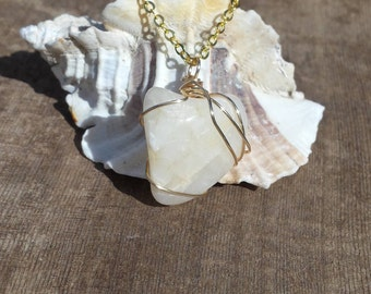 Polished White with Beige and Yellow Gold Accents Heart Shaped Beach Stone Sea Stone Wire Wrapped Pendant Necklace