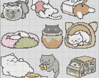 9 in 1 Neko Atsume Cross Stitch Pattern Collection I  Easy Tiny Patterns