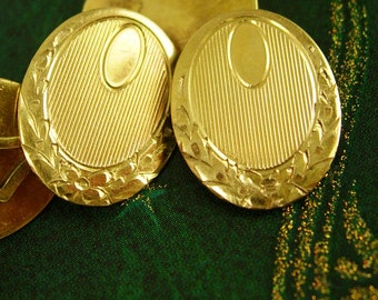 Antique Victorian Cufflinks Signet Monogrammable gold filled Men's Jewelry Signed PS CO engraved