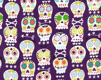 Bonehead in Amethyst - Michael Miller cotton quilt fabric - half yard