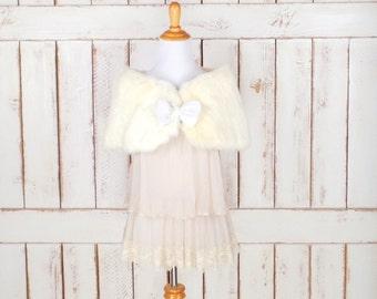 50s vintage light  ivory rabbit fur stole bow wrap/off white fur capelet/caplet/wedding/bridal stole coverlet/xsmall
