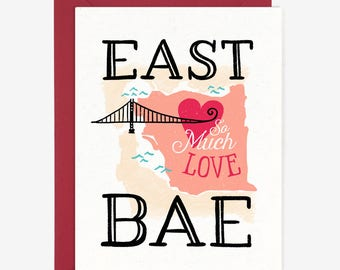 East Bae Love Card // East Bay California Oakland Map Cute Hand Lettered Folded Card White Pink Red // by Paper Pony Co.