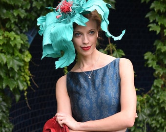 Turquoise flower    fascinator headpiece crown millinery  races