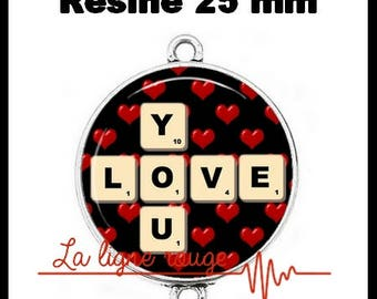 Connector silver 25 mm cabochon dome resin - Love You (1409) - text, Valentine, love