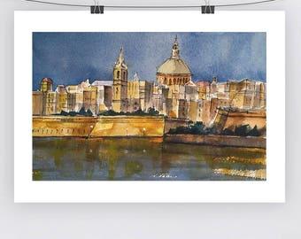 Watercolour Malta Cityscape - A3 - A4 size - Fine Art Print - Limited Edition - Valletta at Sunset
