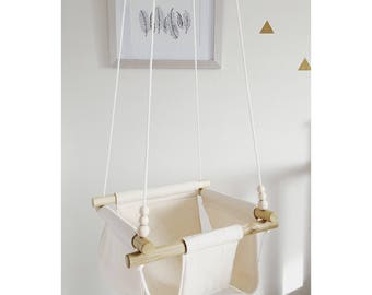 baby swing, beige swing, wooden swing, natural swing, porch swing, indoor swing, outdoor swing, baby shower gift, fabric swing, baby hammock