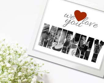 Custom Photo Collage, Mummy Collage, Custom Photo Letter, Letter Collage, Photo Name Gift, Photo Name Collage, Gifts for Her, Gift for Mom,