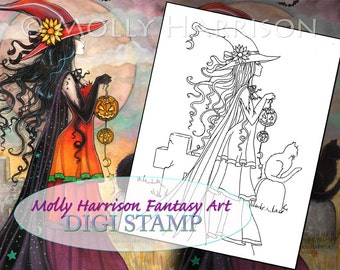 Witch Way - Digital Stamp - Printable - Halloween Witch and Cat - Molly Harrison Fantasy Art - Digi stamp Coloring Page JPG - 8.5 x 11