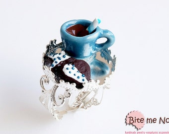 Food Jewelry Hot Chocolate with Biscuits, Miniature Food, Polymer Clay Sweets, Mini Food Jewelry, Handmade Ring, Kawaii Jewelry, Ceramic Cup
