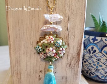 Vintage Earring Necklace, Repurposed Jewelry, Tassel Necklace, Tassel Jewelry, Pearl Necklace, Pearl Jewelry, Flower Jewelry, Assemblage