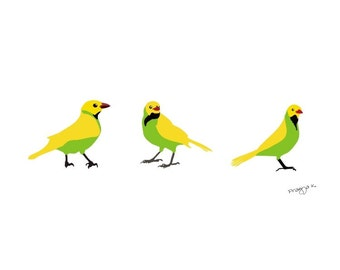 yellow green Bird art print - Behind your back -  whimsical art print,wall art print nursery art print,wall art prints,fine art prints