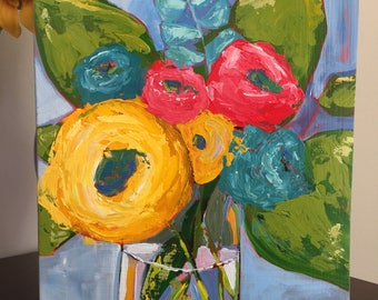 Spring floral acrylic painting