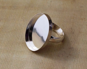 Oval Bezel Sterling Silver Ring Blank - 25 mm x 18 mm sized ring
