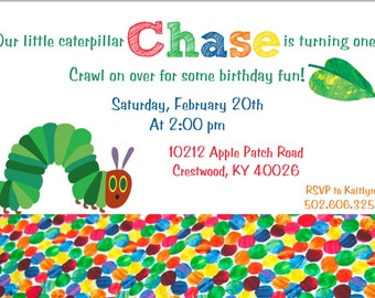 Colorful Caterpillar Printed Invitations, Caterpillar Party Invitations