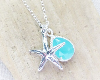 Beach Necklace, Starfish Necklace, Seafoam Blue Crystal Teardrop, Sterling Silver Starfish Charm Necklace, Ocean, Beach Wedding, Gift