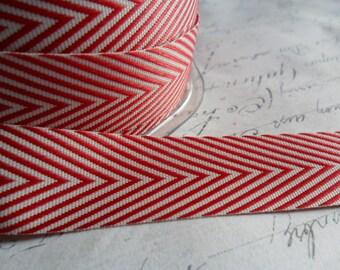 Twill Red and White 3/4  inch Woven Chevron Ribbon Trim