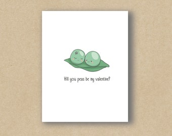 Will You Peas Be My Valentine - Valentine's Day Card - Greeting Card