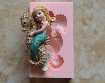 Mermaid Silicone Mold, Silcone, Soap, Cake, Candy, Clay, Nautical, Cooking, Jewelry, Beach, Chocolate, Cookies N434-150