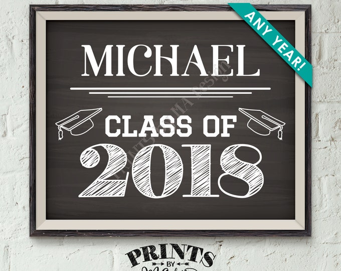 """Class of Sign, Custom Year of Graduation Sign, High School Graduation Party, College Grad Party, Chalkboard Style PRINTABLE 8x10/16x20"""" Sign"""