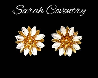 SARAH COVENTRY White & Gold Flower Earrings, 3 Dimensional White Flowers, 3D Tiered Daisies, Flower Girl Earrings, Mothers Day Gift For Her